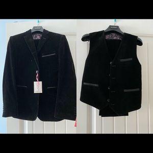 New Isaac Mizrahi 3 Pcs solid velvet Suit Youth